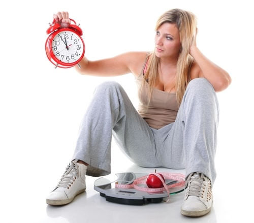 Weight Loss - Girl with Clock & Scale
